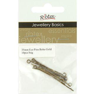 Jf Eye Pins 35Mm Boho Gold 10Pcs