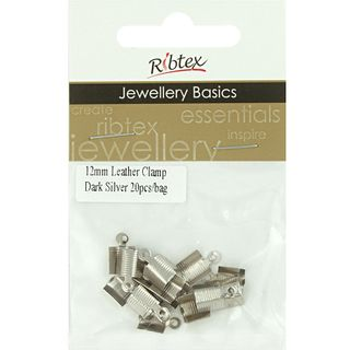 Jf Leather Clamp 12Mm Dark Silver 20Pcs