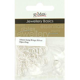 Jump Rings 10mm Silver 30Pcs