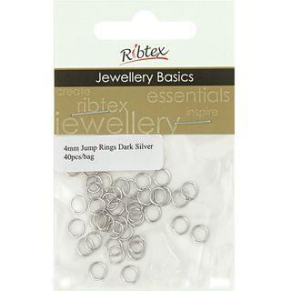 Jump Rings 4mm Dark Silver 40Pcs