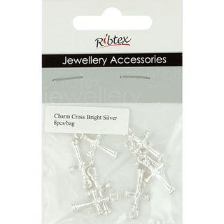 Charm - Cross 21mm Bright Silver 8Pcs