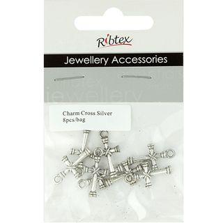 Charm - Cross 21mm Silver 8Pcs