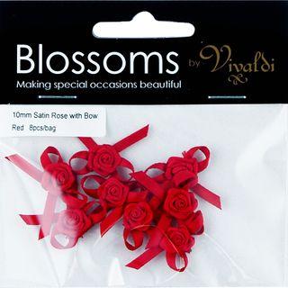 FLOWER SATIN ROSE W BOW 10MM RED 8PCS