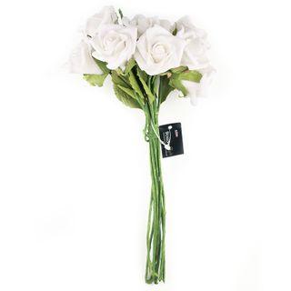 FLOWER FOAM ROSE 12H WHITE 1BCH
