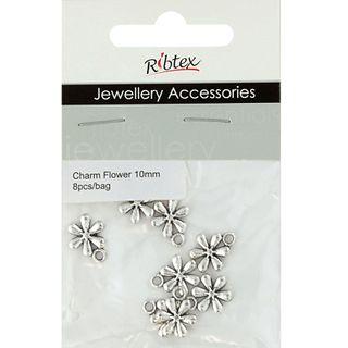 Charm - Flower 10mm Silver 8Pcs