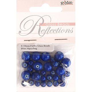 Bead Glass Funky 6-10Mm Blue 30Pcs