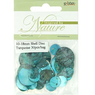 BEAD SHELL DISC 10-18MM TURQUOISE 30PCS