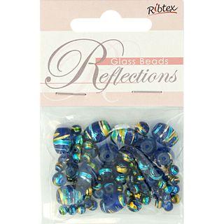 Bead Glass Metallic Stripe Cobalt 50Pcs