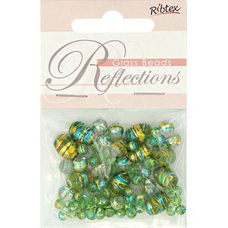 Bead Glass Metallic Stripe Lime 50Pcs