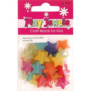 Bead 20Mm Glass Look Star Assorted 20G