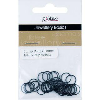 Jump Rings 10mm Black 30Pcs