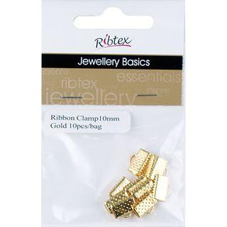 Jf Acc Ribbon Clamp 10Mm Gold 10Pcs