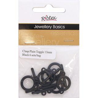 Clasp Toggle Plain 13mm Black 6 Sets