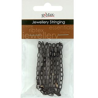 Chain Straight Oval Link 7x4mm Black 1m