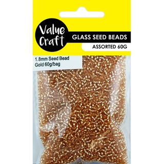 BEAD GLASS SEED 1.8MM GOLD 60G