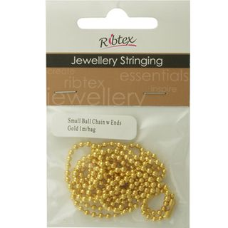 Chain Ball With Ends Gold 1m