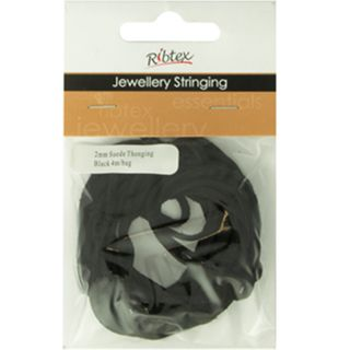 JF SUEDE THONGING 2MM BLACK 4M