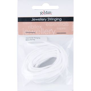 JF SUEDE THONGING 2MM WHITE 4M
