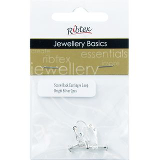 Earring Screw Back With Loop Silver 2Pcs