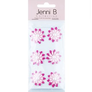 JB PAPER FLOWER PEARL PK 6PCS