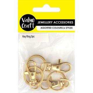 JF KEY RING W SWIVEL CLASP GOLD 3PCS