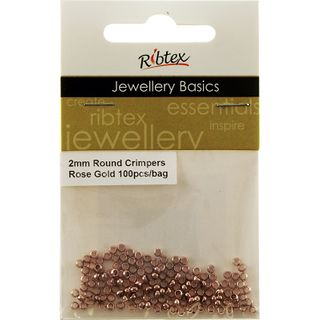 JF CRIMPERS ROUND 2MM ROSE GOLD 100PC