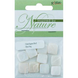BEAD SHELL 12MM SQUARE NATURAL 10PC