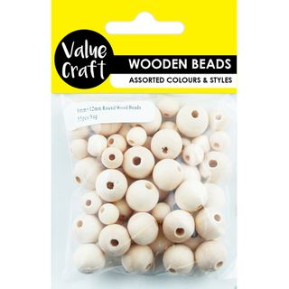 BEAD WOOD ROUND 12MM + 8MM NATURAL 55PC
