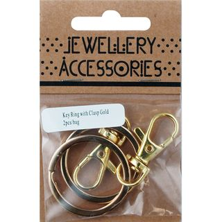 Jf Key Ring Chain With Clasp Gold 2Pc
