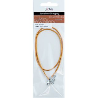 JF NECKLACE LEATHER MET-GOLD 45CM-1PC