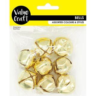 BELLS SLEIGH  LARGE GOLD 3.5CM 8PC