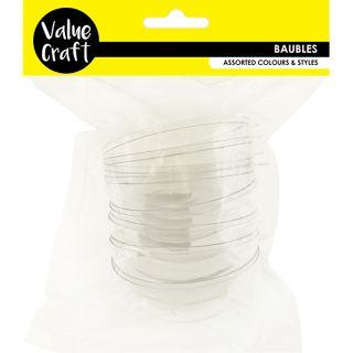 CRAFT 8CM CLEAR PLASTIC BAUBLE 4PC