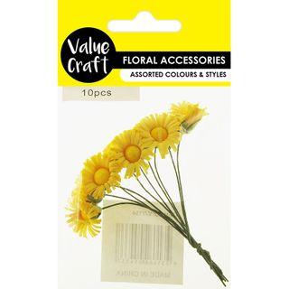 CRAFT DAISY FLOWERS YELLOW 10PCS