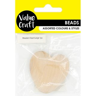 BEAD MDF WOODEN HEART LGE NATURAL 1PC