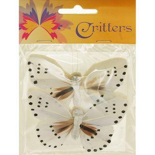 Butterfly 9x6cm Spot White 2Pcs