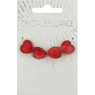 CHINESE CRYSTAL HEARTS 14MM 4PCS RED