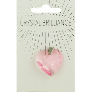 CHINESE CRYSTAL PENDANT HEART 28MM PINK