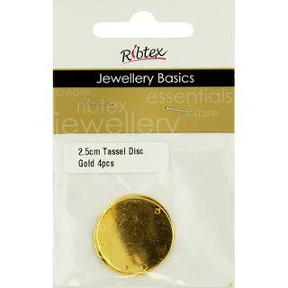 Earring Tassel Disc 2.5cm Gold 4Pcs