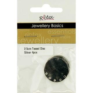 Earring Tassel Disc 2.5cm Silver 4Pcs
