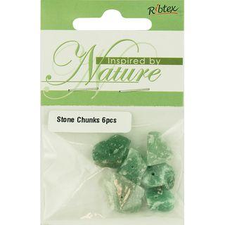 STONE BEAD CHUNK GREEN JADE 6PCS
