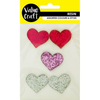 RESIN HEARTS 3CM PINK SILVER LAV 5PC