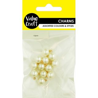CHARMS PEARLS 10MM IVORY 12PCS