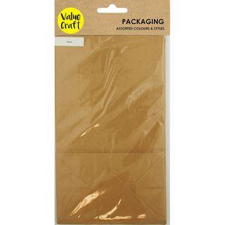 BAGS W GUSSET PAPER 21X12X8CM BROWN 10PC