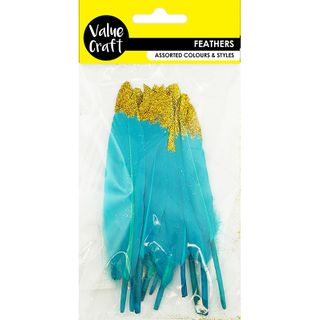 Feather Goose Blue Gold Glitter Tip 12Pc