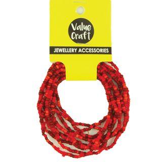 Bracelets Seed Bead Red/Og 10Str - 1Pk