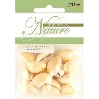 COWRIE SHEL 20MM TWO HOLE NATURE 15G