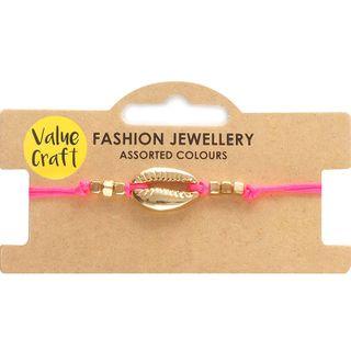 Bracelet Adj Pink W Gld Shell 1Pc