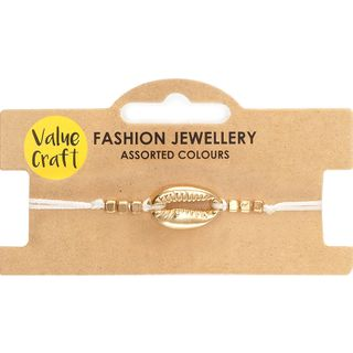Bracelet Adj White W Gld Shell 1Pc