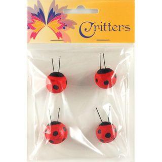Craft Ladybirds 2X2Cm Red 4Pc