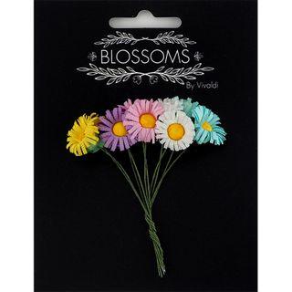 Fabric Daisy 15mm Multi Pastel 10Pcs